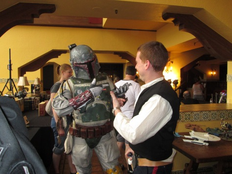 Boba Fett and Han Solo discuss their plans for Starfest.